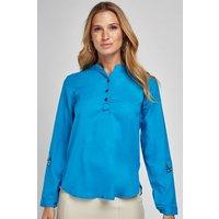 Adjustable Sleeve Blue Blouse