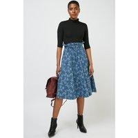 Printed Flared Denim Skirt