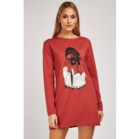 Illustration Print Sweatshirt Dress