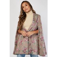 Flower Embroidered Cape Jacket