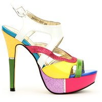 Colour Block Cut Out Strap Shoes
