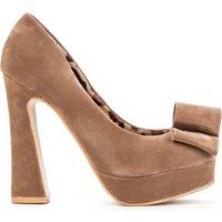Suedette Block Heel Bow Shoes