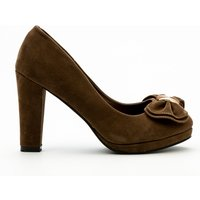 Pleated Bow Velour Court Shoes