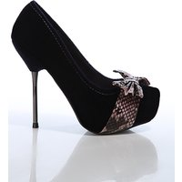 Faux Snake Skin Bow Velour Shoes