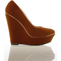 Pointy Velour Wedge Shoes
