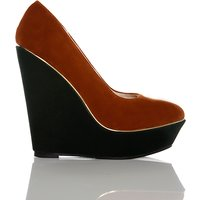 Gold Pipe Trim Two Tone Wedge Shoes