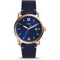 Fossil Men The Commuter Three-Hand Date Blue Leather Watch - One size