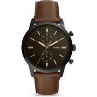 Fossil Men Townsman 44 Mm Chronograph Brown Leather Watch - One size