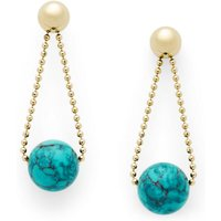 Fossil Women Circle Gold-Tone Stainless Steel Drop Earrings Green - One size