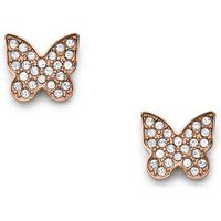 Fossil Unisex Rose Gold-Tone Stainless Steel Pavé Butterfly Studs - One size