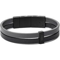 Fossil Unisex Two-Tone Double Strand Leather Bracelet Grey - One size