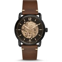 Fossil Men Commuter Automatic Brown Leather Watch - One size