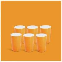 Milchbecher-Set 6tlg. Classic Leuchtorange Walküre Porzellan