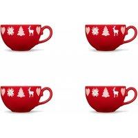 Friesland 4er-Set Kaffee-Obertasse Happymix Winterzauber Rot