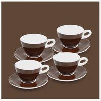 Milchkaffee-Set 8tlg. Alta Dunkelbraun Walküre Porzellan