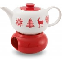 Friesland Teekanne/ Stövchen Set Winterzauber Weiß/ Rot