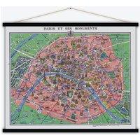 Paris et monuments Vintage Map