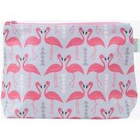 Flamingo Flourish Wash Bag In Ice Blue, Large