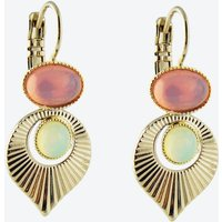Gold Art Deco Style Earrings in Pink and Yellow