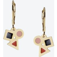 Tiny Geometric Earrings in Black Blush and Rust