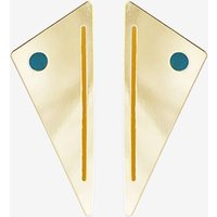 Miami Art Deco Earrings in Mustard and Emerald