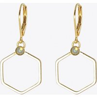 Small Gold Hexagon Earrings with White Opal Stone