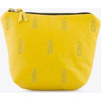 Pineapple Leather Makeup Bag On Yellow