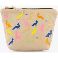 Becher Leather Makeup Bag In Grey