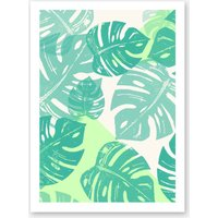 Linocut Monstera Green in Print
