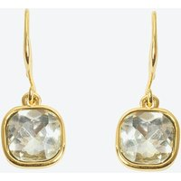 18k Gold Square Cut Drop Earring