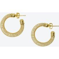18k Gold Mesh Crystal Hoop Earring