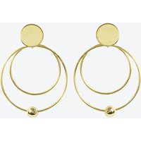 18k Gold Double Circle and Ball Earring
