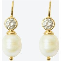 18k Gold Cultured Pearl Short Drop Earring