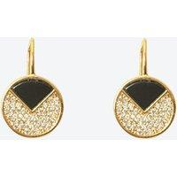 18k Gold Onyx Circle Earring