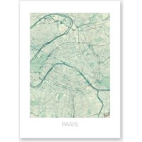 Paris Map Vintage in Blue