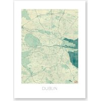Dublin Map Vintage in Blue