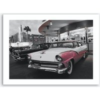 Vintage America Pink Car at Diner Art Print