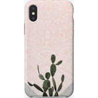 Cactus on Concrete and Pink Persian Mosaic Mandala Wall iPhone Case