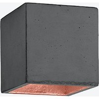 Concrete Ceiling Light Cubic B7 in Dark Grey and Copper