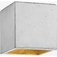 Concrete Ceiling Light Cubic B7 in Light Grey and Gold