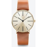 Cesare In Gold With Cognac Face & Cream Leather Strap, 42mm
