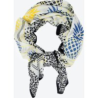 Ananas Large Scarf In White Cotton Silk