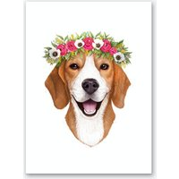 Beagle With Flowers Art Print
