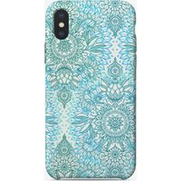 Turquoise Blue, Teal & White Protea Doodle Pattern iPhone Case