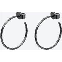 Black Medium Diamond Hoop Earrings