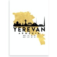 Yerevan Armenia Silhouette City Skyline Map