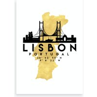 Lisbon Portugal Silhouette City Skyline Map