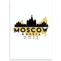 Moscow Russia Silhouette City Skyline Map