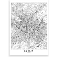 Berlin White Map Art Print I