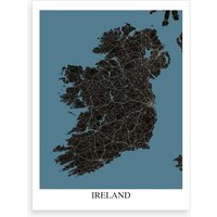 Ireland Black Blue Map Art Print